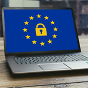 GDPR header image of laptop with pad lock in EU flag