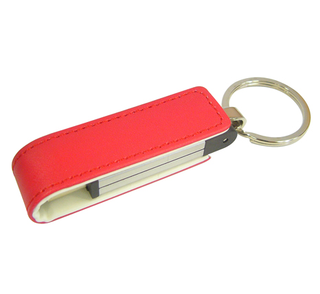 Red leather branded usb stick