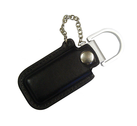 Memory stick with branded leather pouch