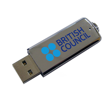 British Council promotional metal usb drive