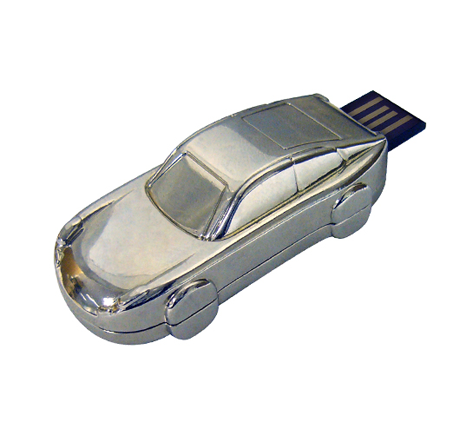 silver metal branded car usb stick