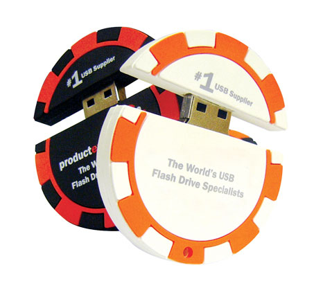 Promotional casino chip flash drives